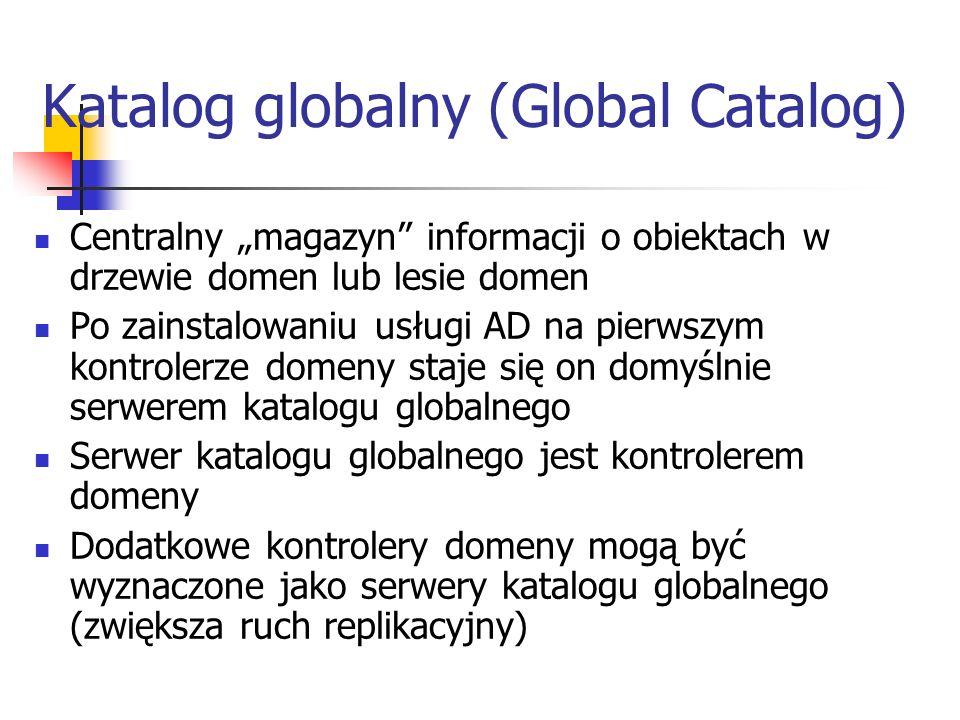 Katalog globalny (Global Catalog) Centralny magazyn informacji o obiektach w drzewie domen lub lesie domen Po zainstalowaniu usługi AD na pierwszym ko