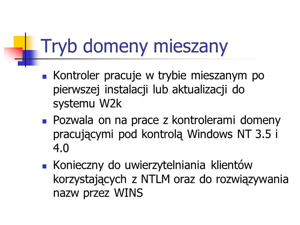 Tryb domeny mieszany Kontroler pracuje w trybie mieszanym po pierwszej instalacji lub aktualizacji do systemu W2k Pozwala on na prace z kontrolerami d