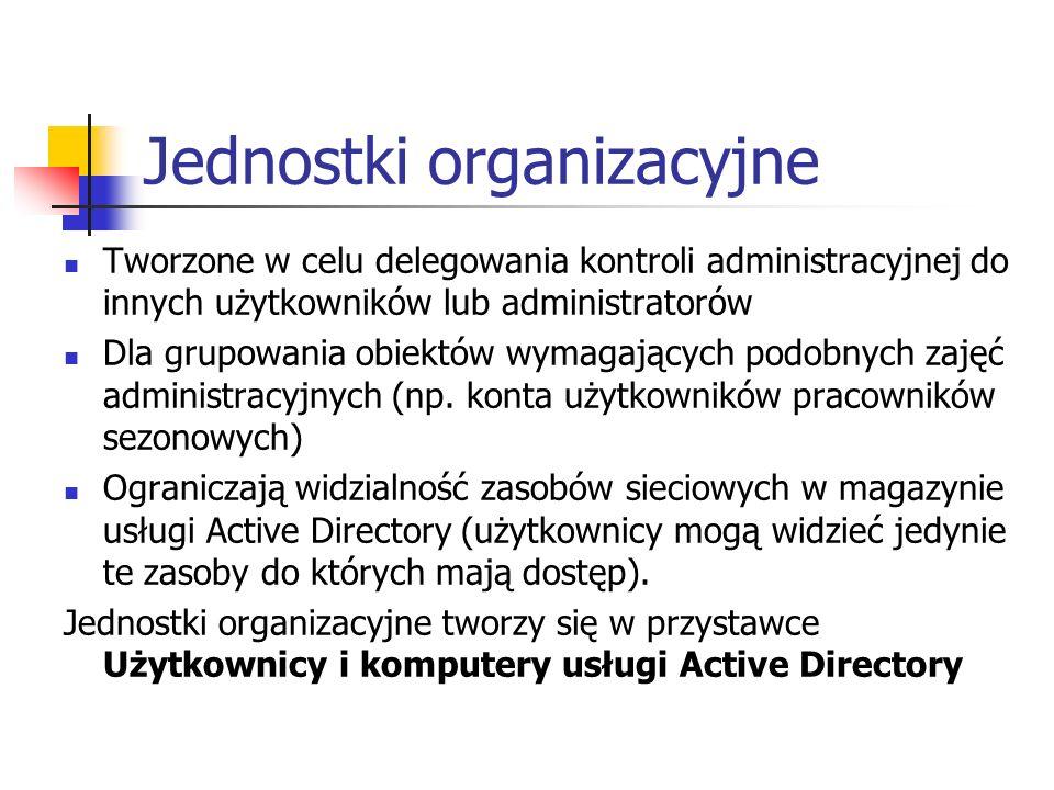 Jednostki organizacyjne Tworzone w celu delegowania kontroli administracyjnej do innych użytkowników lub administratorów Dla grupowania obiektów wymag