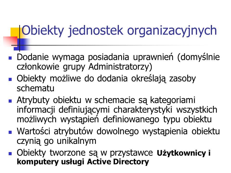 Obiekty jednostek organizacyjnych Dodanie wymaga posiadania uprawnień (domyślnie członkowie grupy Administratorzy) Obiekty możliwe do dodania określaj