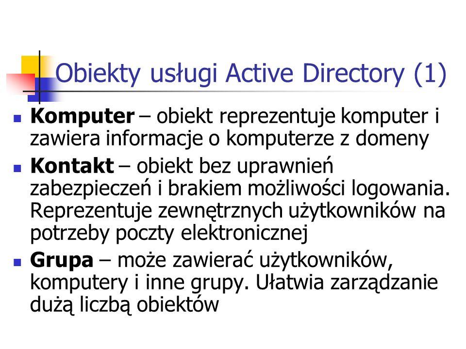 Obiekty usługi Active Directory (1) Komputer – obiekt reprezentuje komputer i zawiera informacje o komputerze z domeny Kontakt – obiekt bez uprawnień