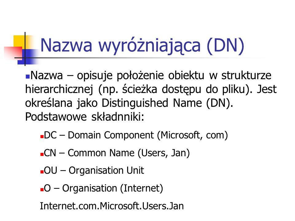 Udostępniony wolumen systemowy Struktura istniejąca na wszystkich kontrolerach domeny zawierająca skrypty i obiekty zasad grup Domyślna lokalizacja: %systemroot%\Sysvol Udostępniony wolumen systemowy musi znajdować się na partycji lub wolumenie sformatowanym w systemie plików NTFS w wersji 5.0 Replikacja odbywa się według tego samego harmonogramu co replikacja usługi AD