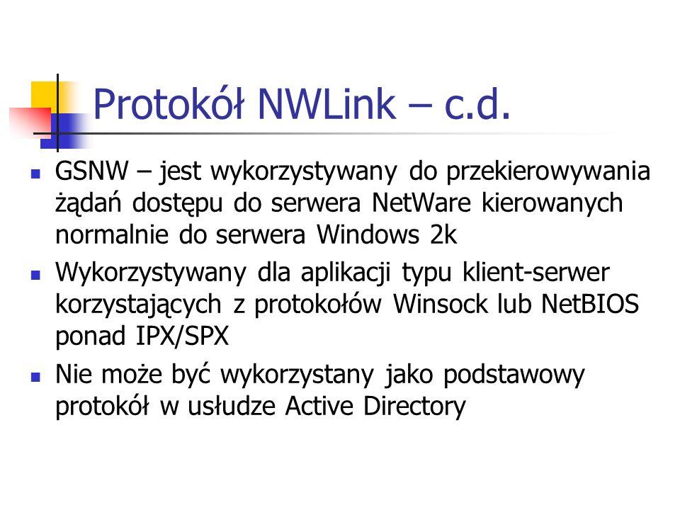 Protokół NWLink – c.d. GSNW – jest wykorzystywany do przekierowywania żądań dostępu do serwera NetWare kierowanych normalnie do serwera Windows 2k Wyk