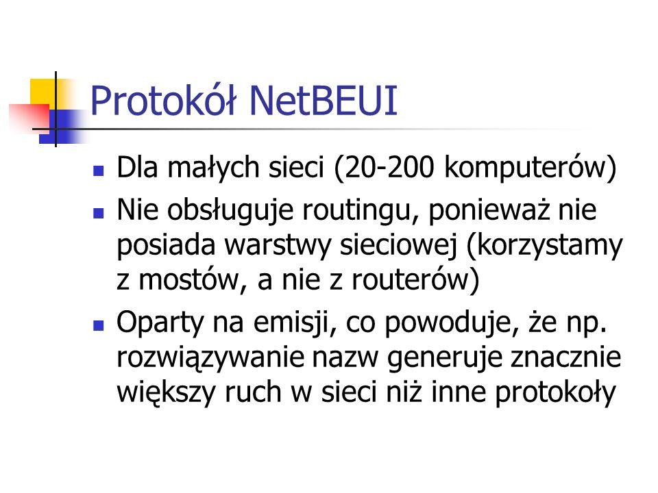 Protokół NetBEUI Dla małych sieci (20-200 komputerów) Nie obsługuje routingu, ponieważ nie posiada warstwy sieciowej (korzystamy z mostów, a nie z rou