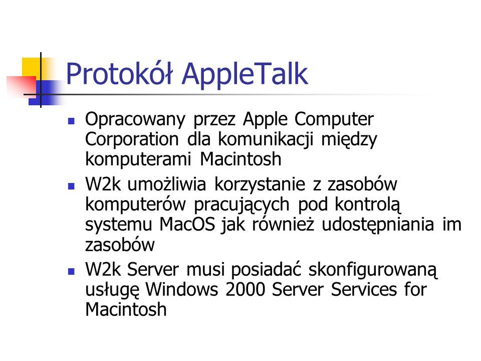 Protokół AppleTalk Opracowany przez Apple Computer Corporation dla komunikacji między komputerami Macintosh W2k umożliwia korzystanie z zasobów komput