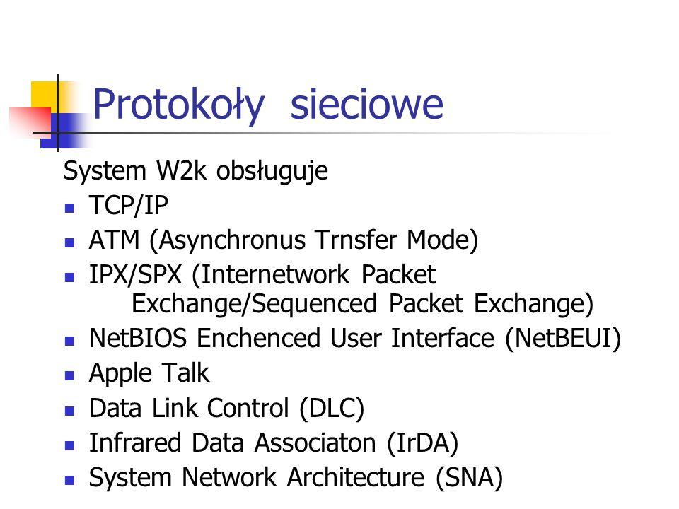 Protokoły sieciowe System W2k obsługuje TCP/IP ATM (Asynchronus Trnsfer Mode) IPX/SPX (Internetwork Packet Exchange/Sequenced Packet Exchange) NetBIOS