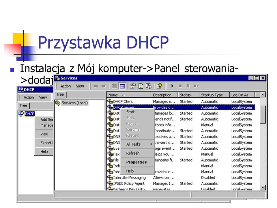 Przystawka DHCP Instalacja z Mój komputer->Panel sterowania- >dodaj/usuń programy