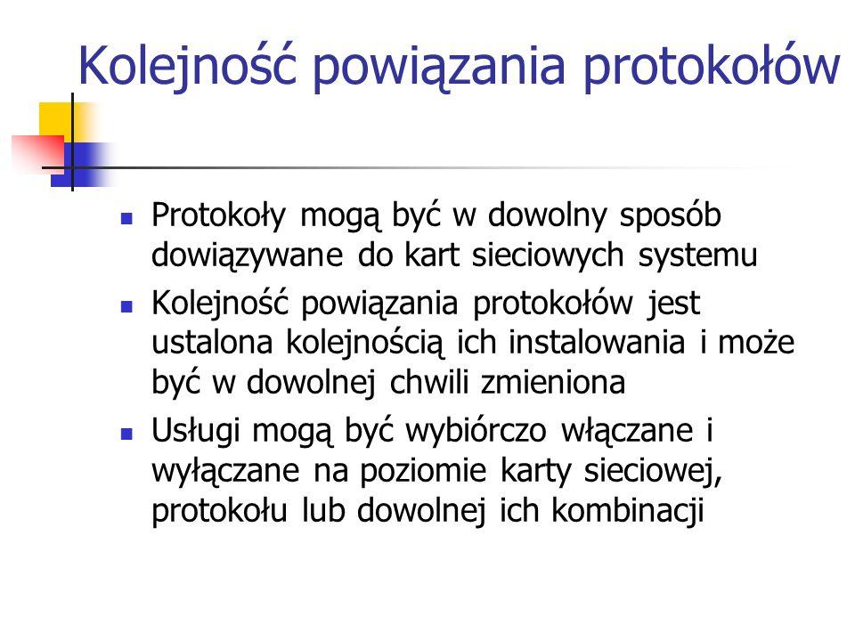 Kolejność powiązania protokołów Protokoły mogą być w dowolny sposób dowiązywane do kart sieciowych systemu Kolejność powiązania protokołów jest ustalo