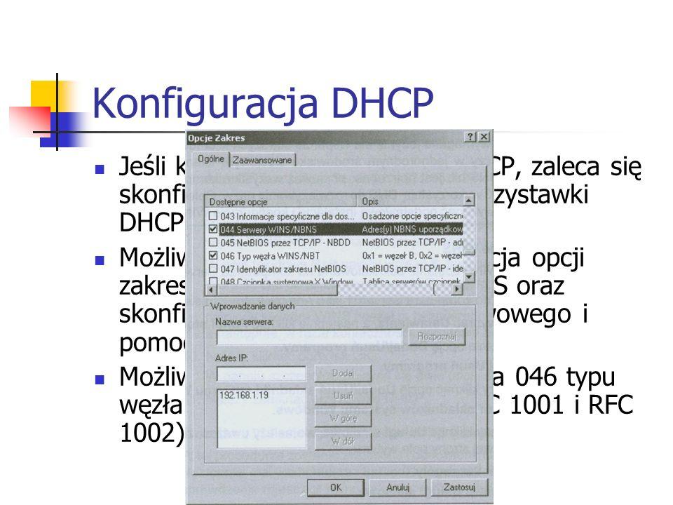 Konfiguracja DHCP Jeśli komputer jest klientem DHCP, zaleca się skonfigurowanie przy pomocy przystawki DHCP konfiguracje WINS Możliwe jest dodanie i k