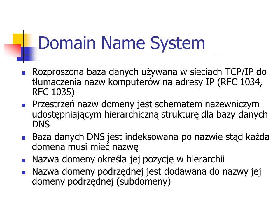 Domain Name System Rozproszona baza danych używana w sieciach TCP/IP do tłumaczenia nazw komputerów na adresy IP (RFC 1034, RFC 1035) Przestrzeń nazw