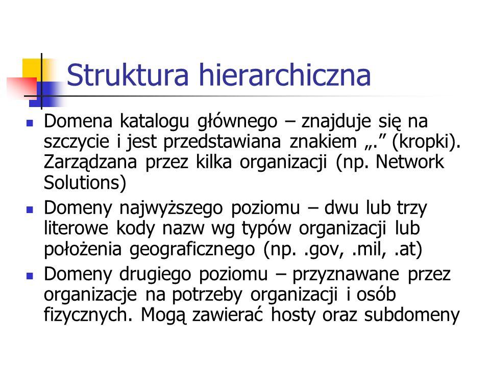 Struktura hierarchiczna Domena katalogu głównego – znajduje się na szczycie i jest przedstawiana znakiem. (kropki). Zarządzana przez kilka organizacji