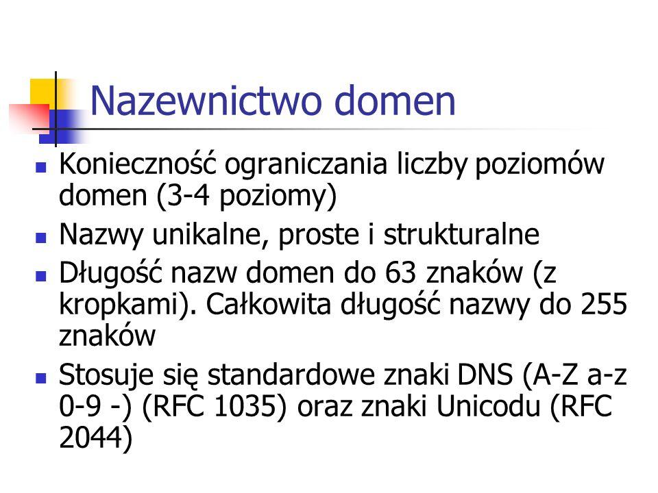 Nazewnictwo domen Konieczność ograniczania liczby poziomów domen (3-4 poziomy) Nazwy unikalne, proste i strukturalne Długość nazw domen do 63 znaków (