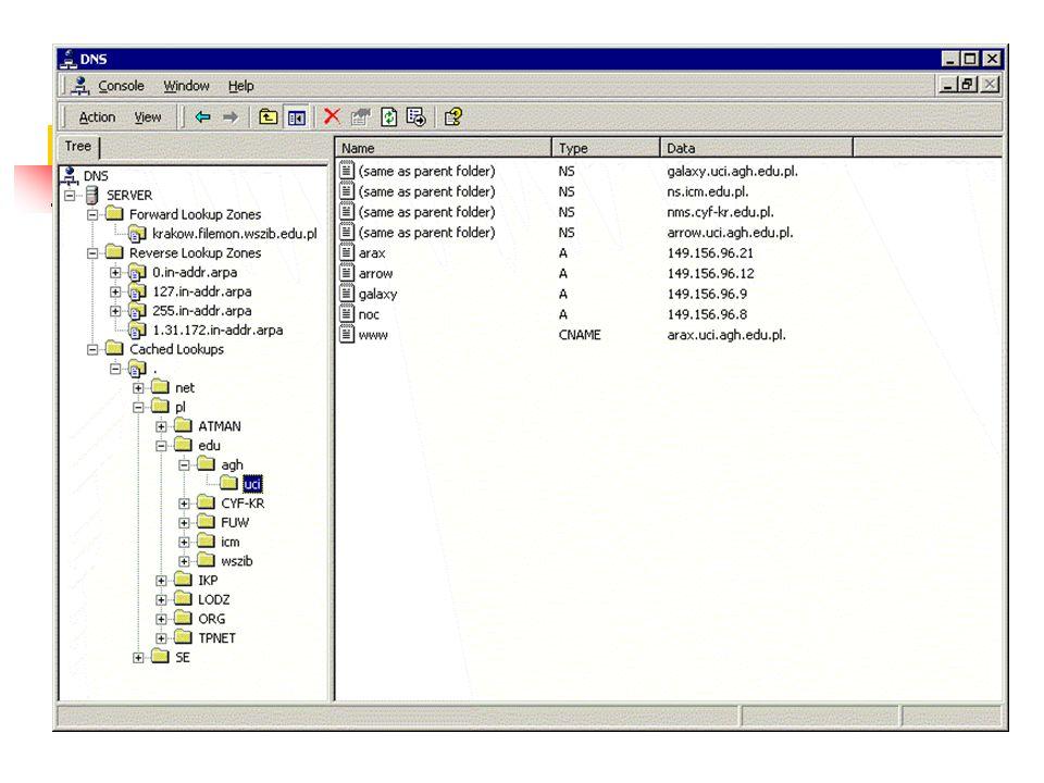 Rekordy zasobów Wpisy w pliku bazy danych strefy Adres startowy uwierzytelnienia (SOA) (TTL=60 min) pierwszy w bazie. Określa serwer nazw będący podst