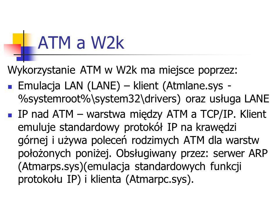 ATM a W2k Wykorzystanie ATM w W2k ma miejsce poprzez: Emulacja LAN (LANE) – klient (Atmlane.sys - %systemroot%\system32\drivers) oraz usługa LANE IP n