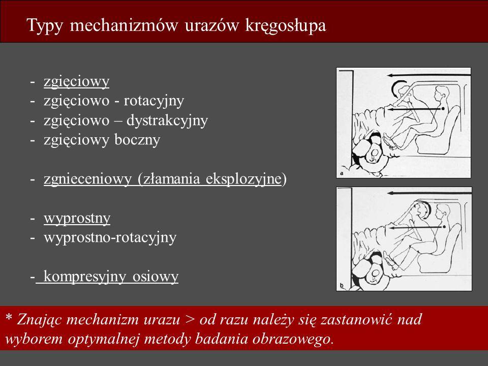 Typy mechanizmów urazów kręgosłupa - zgięciowy - zgięciowo - rotacyjny - zgięciowo – dystrakcyjny - zgięciowy boczny - zgnieceniowy (złamania eksplozy
