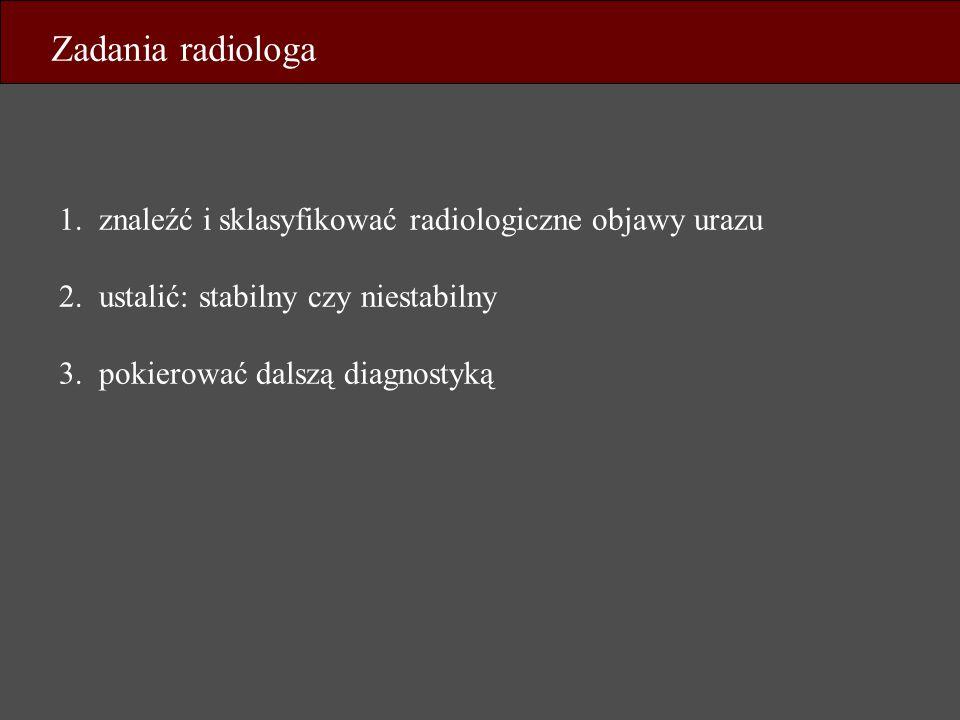 Zadania radiologa 1. znaleźć i sklasyfikować radiologiczne objawy urazu 2. ustalić: stabilny czy niestabilny 3. pokierować dalszą diagnostyką