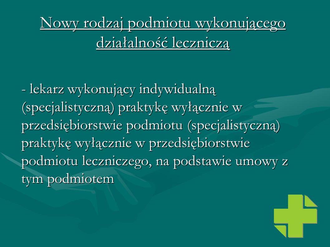 Nowy rodzaj podmiotu wykonującego działalność leczniczą - lekarz wykonujący indywidualną (specjalistyczną) praktykę wyłącznie w przedsiębiorstwie podm