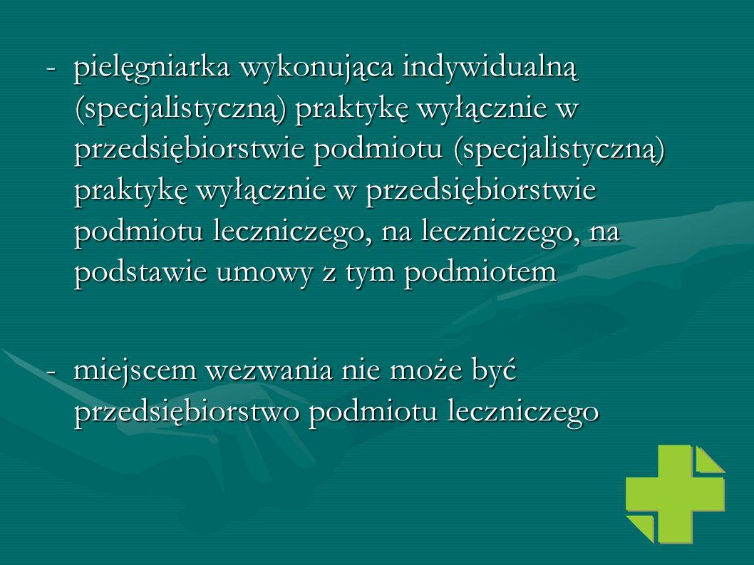 - pielęgniarka wykonująca indywidualną (specjalistyczną) praktykę wyłącznie w przedsiębiorstwie podmiotu (specjalistyczną) praktykę wyłącznie w przeds