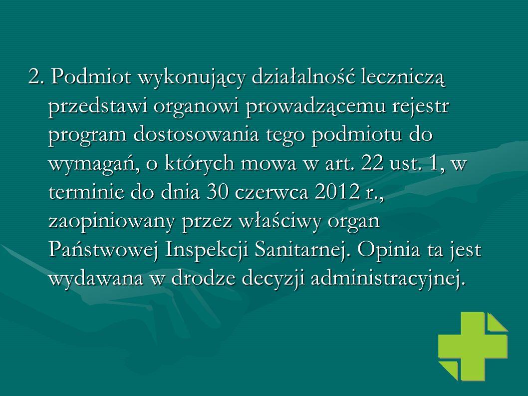 2. Podmiot wykonujący działalność leczniczą przedstawi organowi prowadzącemu rejestr program dostosowania tego podmiotu do wymagań, o których mowa w a