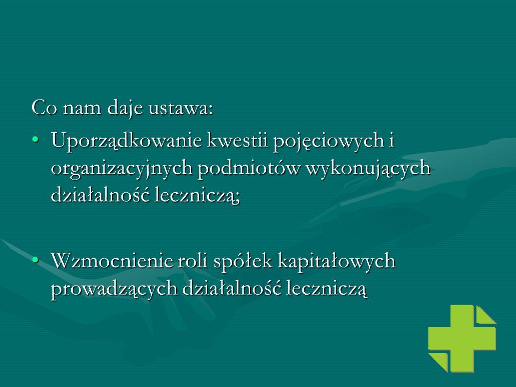 Co nam daje ustawa: Uporządkowanie kwestii pojęciowych i organizacyjnych podmiotów wykonujących działalność leczniczą;Uporządkowanie kwestii pojęciowy
