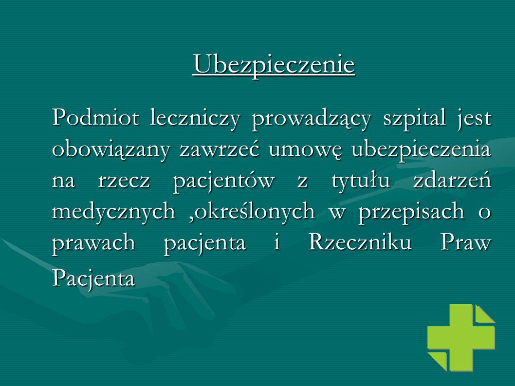 Podmiot leczniczy prowadzący szpital jest obowiązany zawrzeć umowę ubezpieczenia na rzecz pacjentów z tytułu zdarzeń medycznych,określonych w przepisa