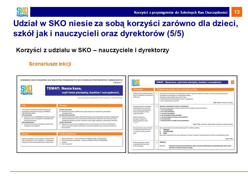 Udział w SKO niesie za sobą korzyści zarówno dla dzieci, szkół jak i nauczycieli oraz dyrektorów (5/5) Korzyści z udziału w SKO – nauczyciele i dyrekt