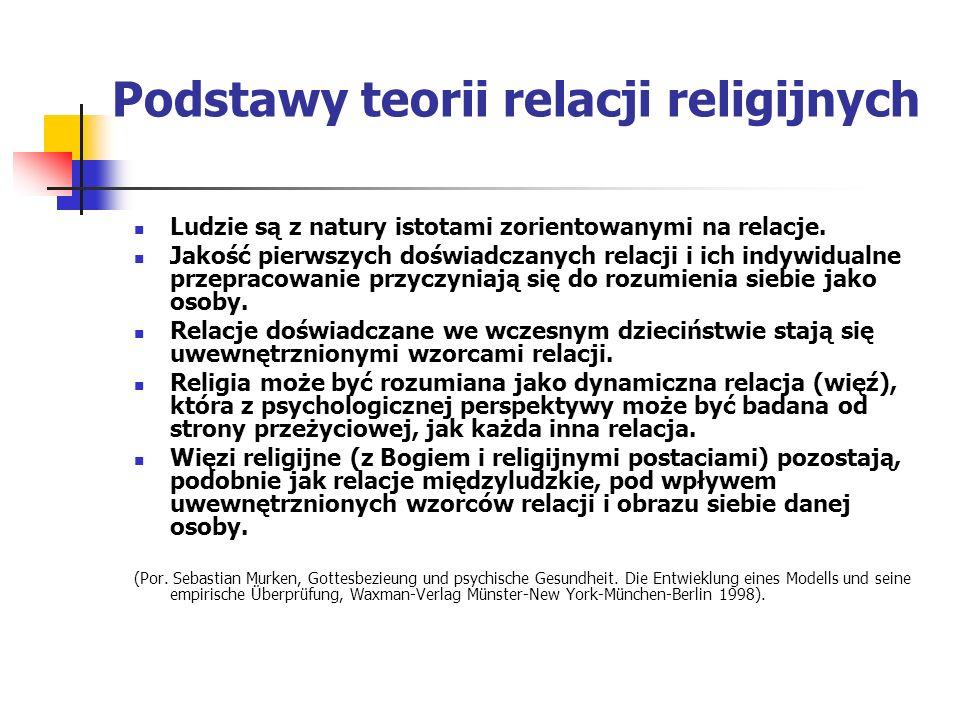 Podstawy teorii relacji religijnych Ludzie są z natury istotami zorientowanymi na relacje. Jakość pierwszych doświadczanych relacji i ich indywidualne