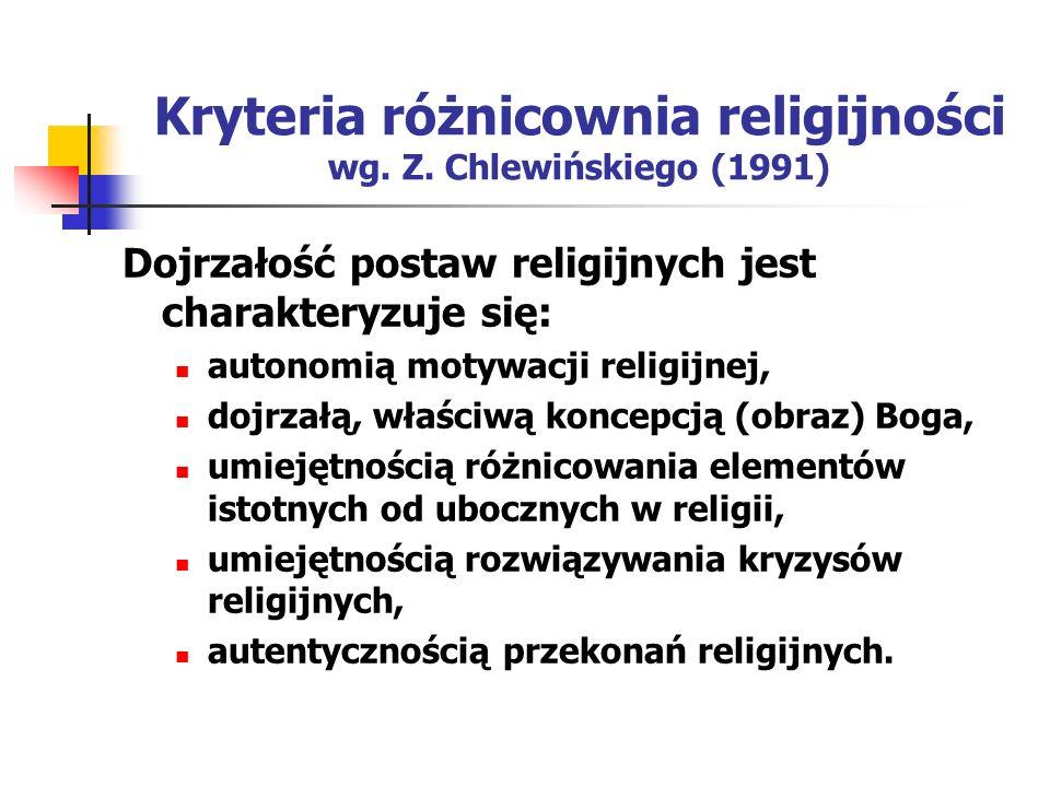 Kryteria różnicownia religijności wg. Z. Chlewińskiego (1991) Dojrzałość postaw religijnych jest charakteryzuje się: autonomią motywacji religijnej, d