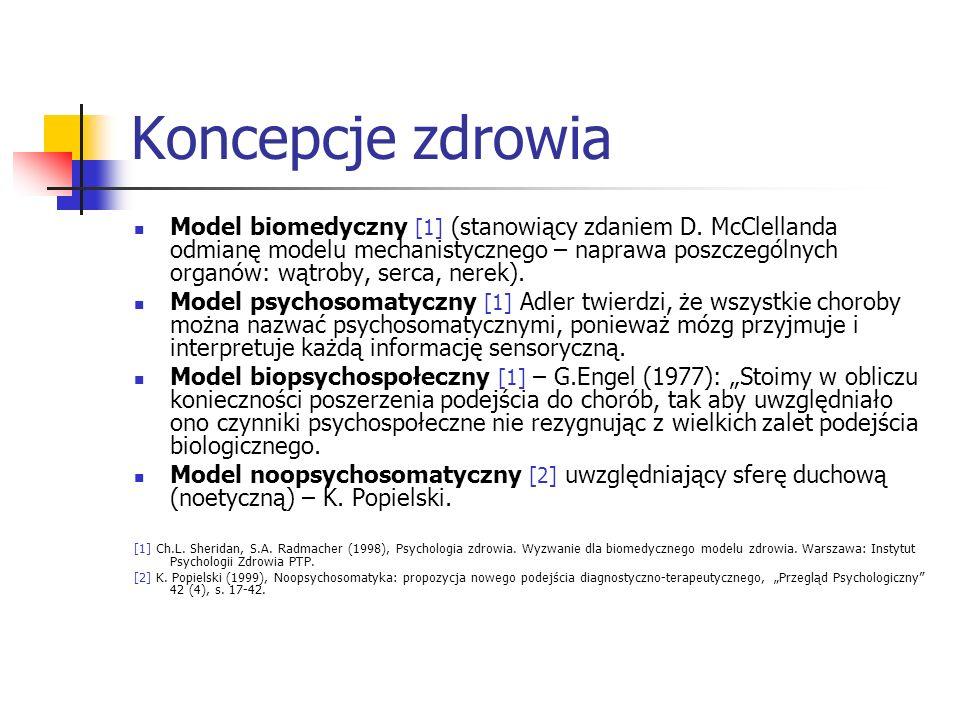 Koncepcje zdrowia Model biomedyczny [1] (stanowiący zdaniem D. McClellanda odmianę modelu mechanistycznego – naprawa poszczególnych organów: wątroby,