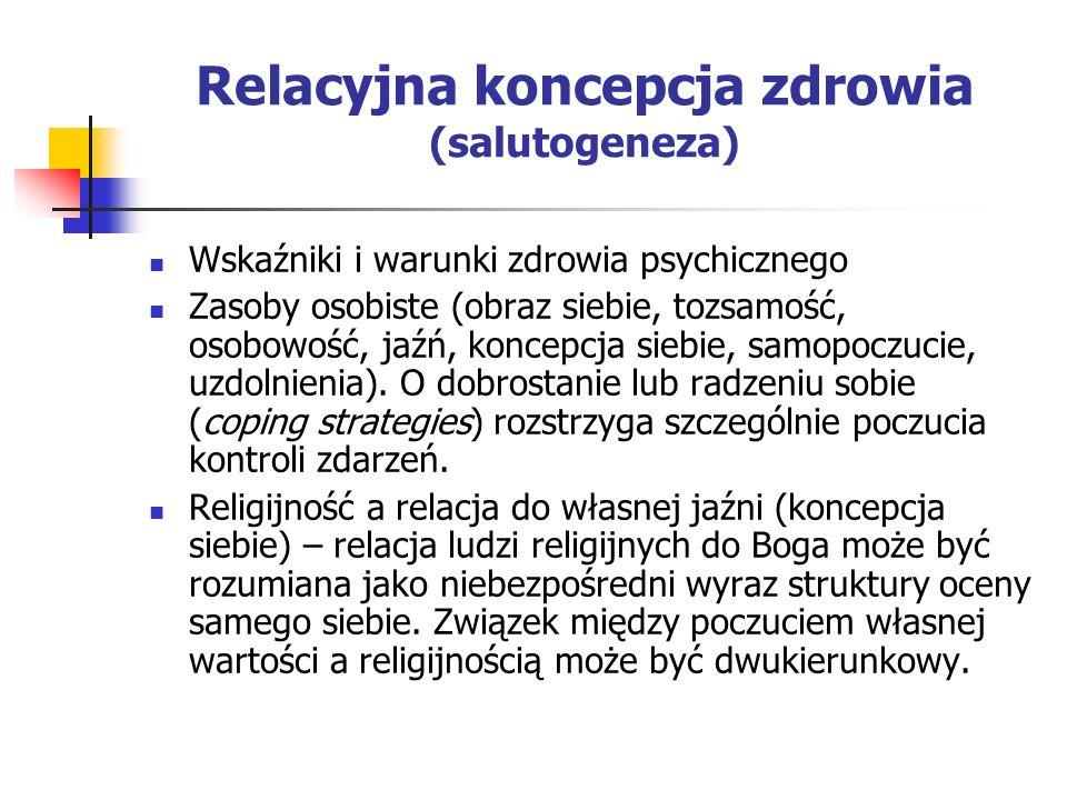 Relacyjna koncepcja zdrowia (salutogeneza) Wskaźniki i warunki zdrowia psychicznego Zasoby osobiste (obraz siebie, tozsamość, osobowość, jaźń, koncepc