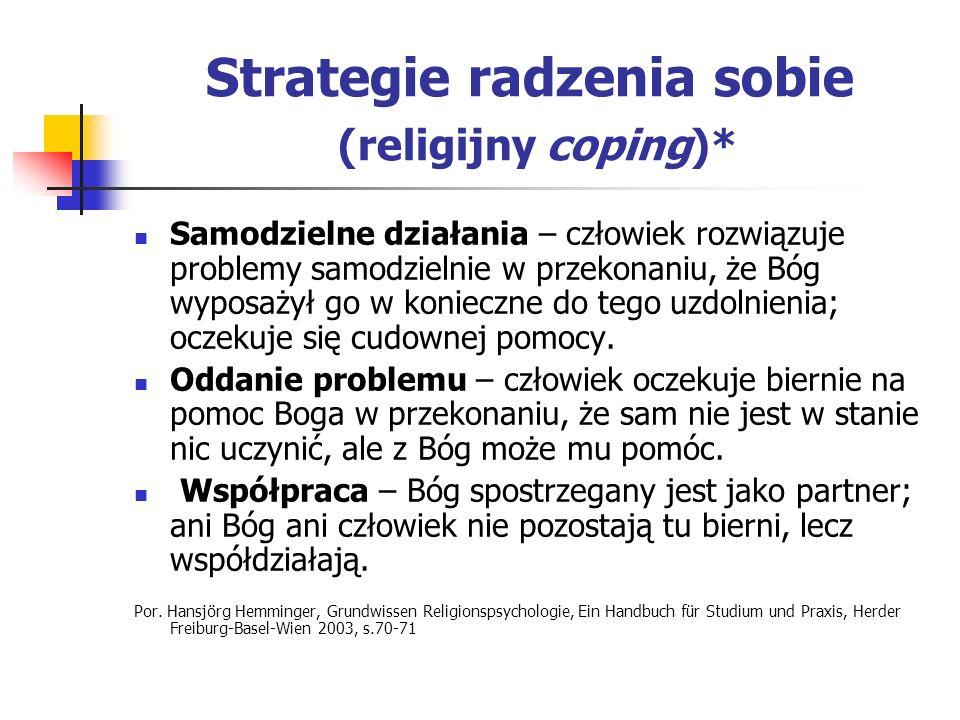 Strategie radzenia sobie (religijny coping)* Samodzielne działania – człowiek rozwiązuje problemy samodzielnie w przekonaniu, że Bóg wyposażył go w ko