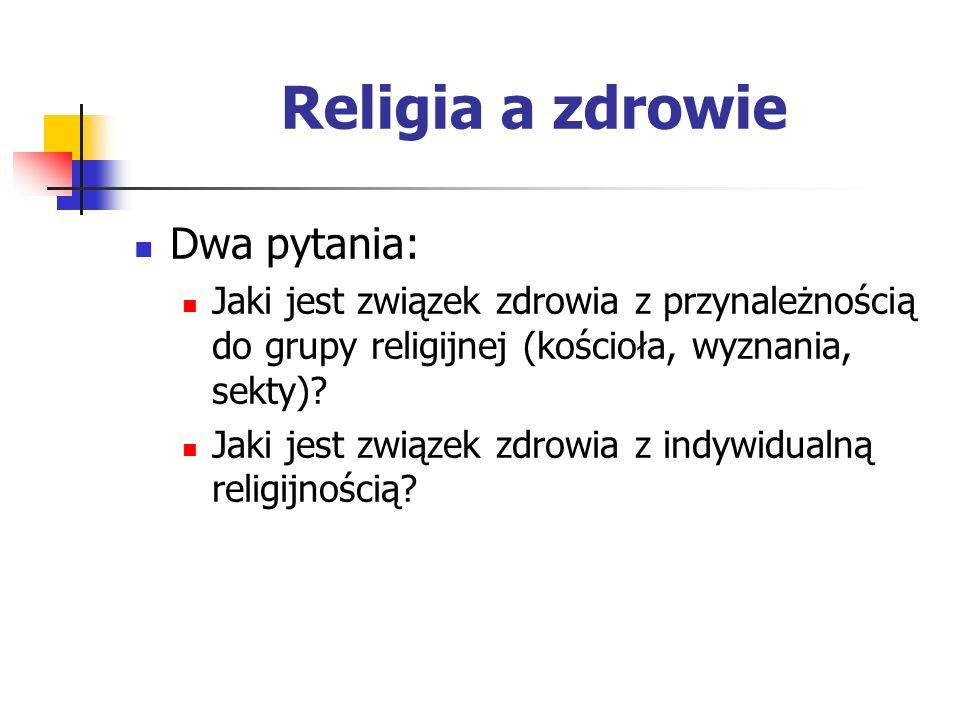 Religia a zdrowie Dwa pytania: Jaki jest związek zdrowia z przynależnością do grupy religijnej (kościoła, wyznania, sekty)? Jaki jest związek zdrowia