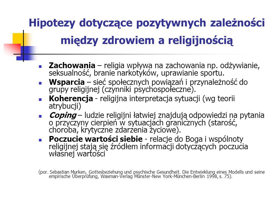 Hipotezy dotyczące pozytywnych zależności między zdrowiem a religijnością Zachowania – religia wpływa na zachowania np. odżywianie, seksualność, brani