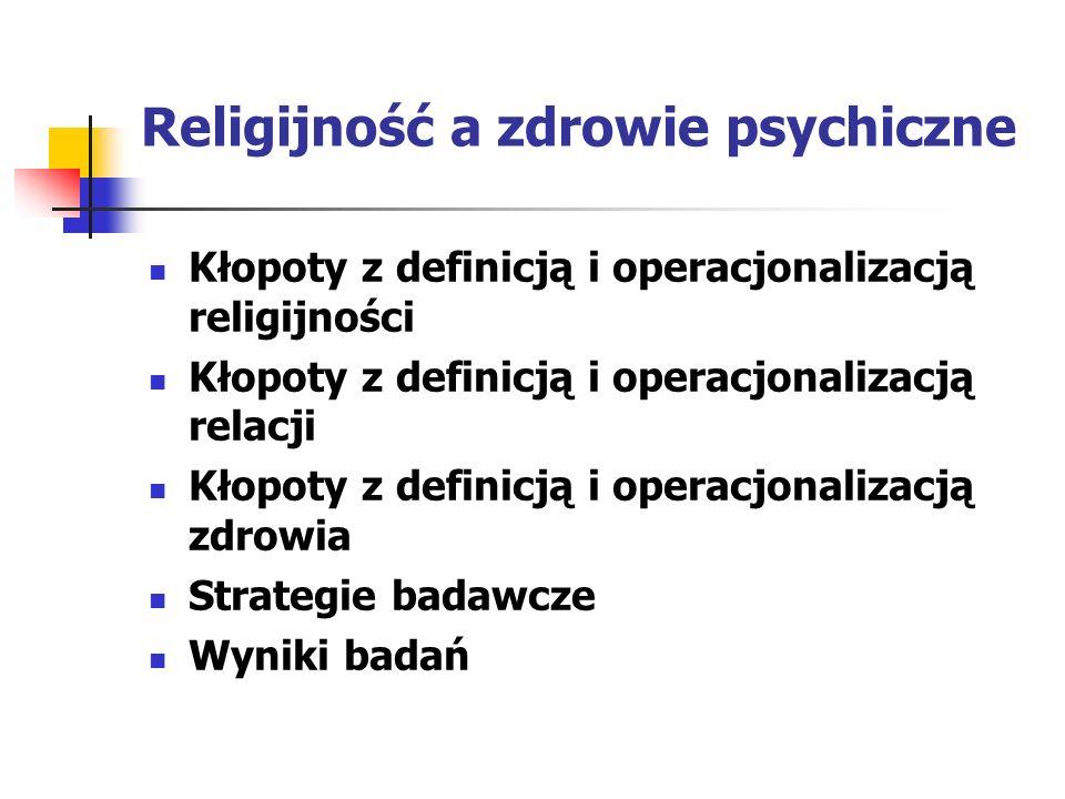 Religijność a zdrowie psychiczne Kłopoty z definicją i operacjonalizacją religijności Kłopoty z definicją i operacjonalizacją relacji Kłopoty z defini