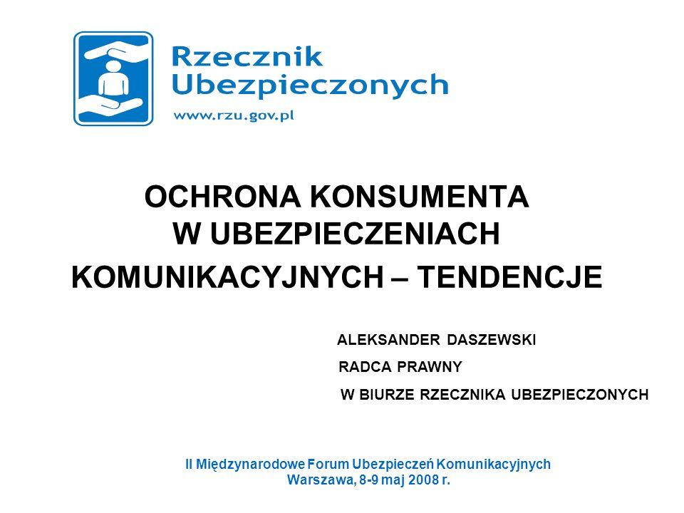 OCHRONA KONSUMENTA W UBEZPIECZENIACH KOMUNIKACYJNYCH – TENDENCJE II Międzynarodowe Forum Ubezpieczeń Komunikacyjnych Warszawa, 8-9 maj 2008 r. ALEKSAN