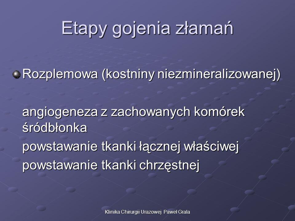 Klinika Chirurgii Urazowej Paweł Grala Etapy gojenia złamań Rozplemowa (kostniny niezmineralizowanej) angiogeneza z zachowanych komórek śródbłonka pow
