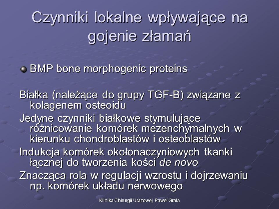 Klinika Chirurgii Urazowej Paweł Grala Czynniki lokalne wpływające na gojenie złamań BMP bone morphogenic proteins Białka (należące do grupy TGF-B) zw