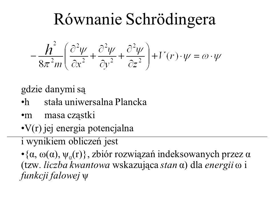 Równanie Schrödingera gdzie danymi są h stała uniwersalna Plancka m masa cząstki V(r) jej energia potencjalna i wynikiem obliczeń jest {α, ω(α), ψ α (r)}, zbiór rozwiązań indeksowanych przez α (tzw.