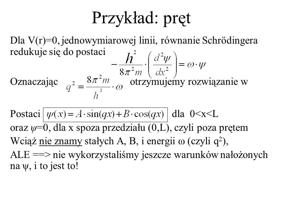 Przykład: pręt Dla V(r)=0, jednowymiarowej linii, równanie Schrödingera redukuje się do postaci Oznaczając otrzymujemy rozwiązanie w Postaci dla 0<x<L oraz ψ=0, dla x spoza przedziału (0,L), czyli poza prętem Wciąż nie znamy stałych A, B, i energii ω (czyli q 2 ), ALE ==> nie wykorzystaliśmy jeszcze warunków nałożonych na ψ, i to jest to!