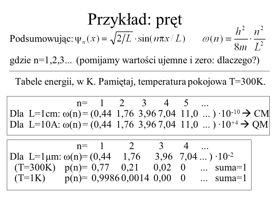 Przykład: pręt Po co jest funkcja falowa Δp=prawdopodobieństwo znalezienia elektronu w stanie n w dowolnie wybranym obszarze to całka z ψ ψ * po tym obszarze.