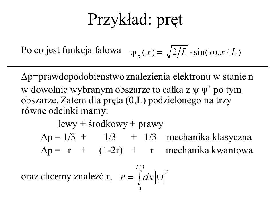 Przykład: pręt Δp = r + (1-2r) + r Δp = 0,195 + 0,610 + 0,195 dla n=1 Δp = 0,402 + 0,196 + 0,402 dla n=2 Δp = 1/3 + 1/3 + 1/3 dla n=3 Δp =...