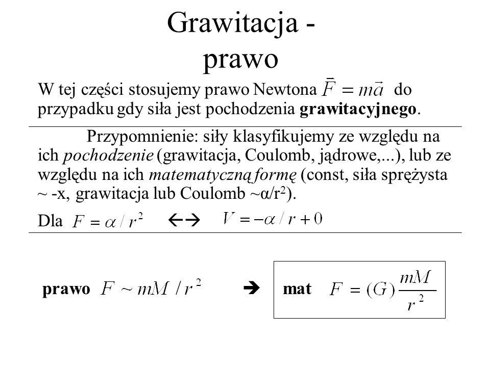 Grawitacja - prawo W tej części stosujemy prawo Newtona do przypadku gdy siła jest pochodzenia grawitacyjnego. Przypomnienie: siły klasyfikujemy ze wz