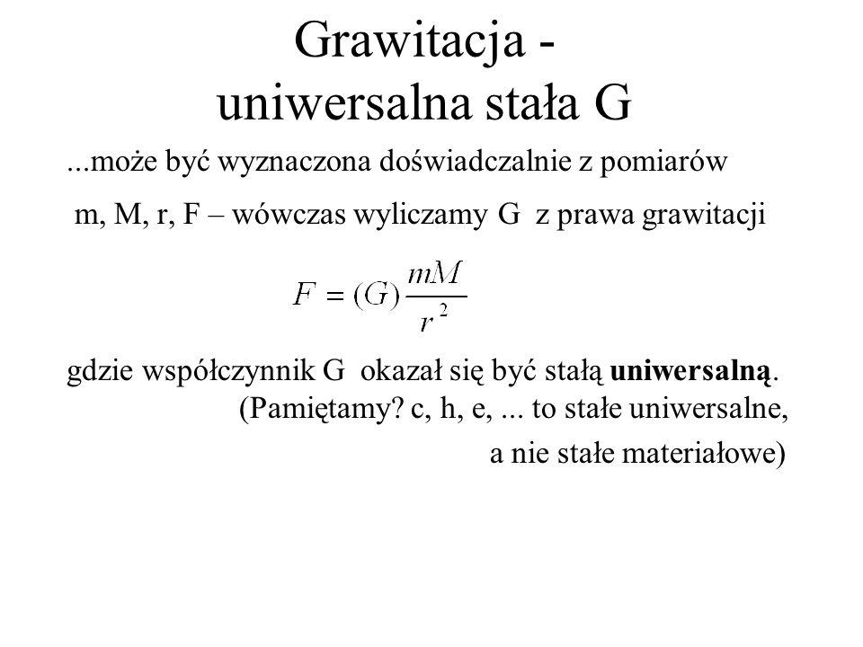 Grawitacja - uniwersalna stała G...może być wyznaczona doświadczalnie z pomiarów m, M, r, F – wówczas wyliczamy G z prawa grawitacji gdzie współczynni