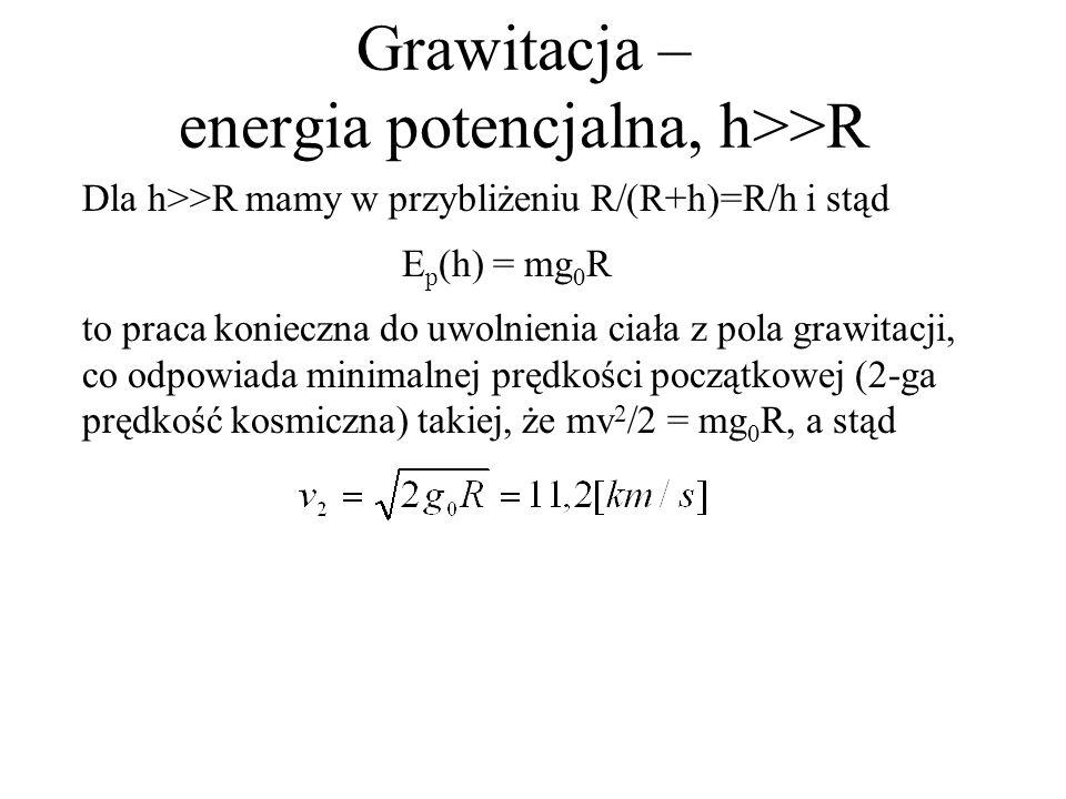 Grawitacja – energia potencjalna, h>>R Dla h>>R mamy w przybliżeniu R/(R+h)=R/h i stąd E p (h) = mg 0 R to praca konieczna do uwolnienia ciała z pola