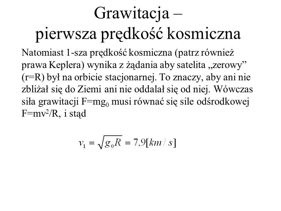 Grawitacja – trajektorie ruchu planet Podsumowanie: v 1 =7,9[km/s] v 2 =11,2[km/s], (v<<c) dla v < v 1 ciało musi spaść na Ziemię dla v = v 1 ciało wejdzie na orbitę (dla rzutu poziomego) dla v 1 <v<v 2 ruch po elipsie dla v=v 2 ruch po paraboli, ucieczka z pola grawitacji dla v>v 2 ruch po hiperboli, po oddaleniu się od Ziemi ciało nadal ma prędkość niezerową