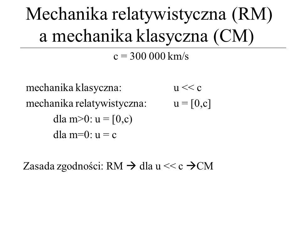 Mechanika relatywistyczna (RM) a mechanika klasyczna (CM) c = 300 000 km/s mechanika klasyczna: u << c mechanika relatywistyczna: u = [0,c] dla m>0: u
