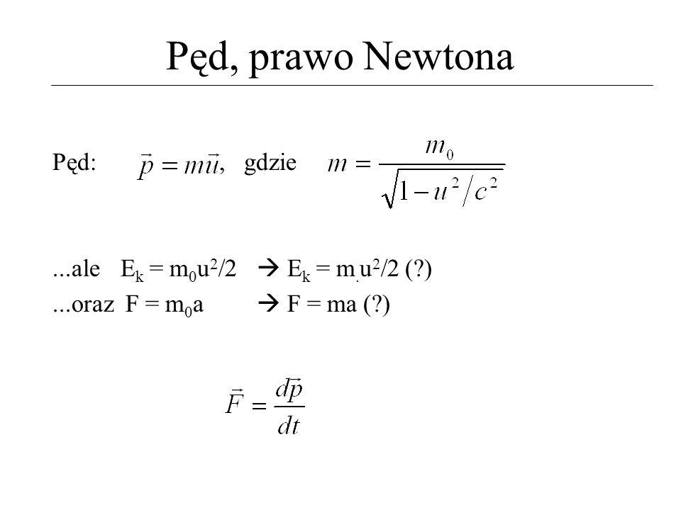 Pęd, prawo Newtona Pęd:, gdzie...aleE k = m 0 u 2 /2 E k = m. u 2 /2 (?)...oraz F = m 0 a F = ma (?)