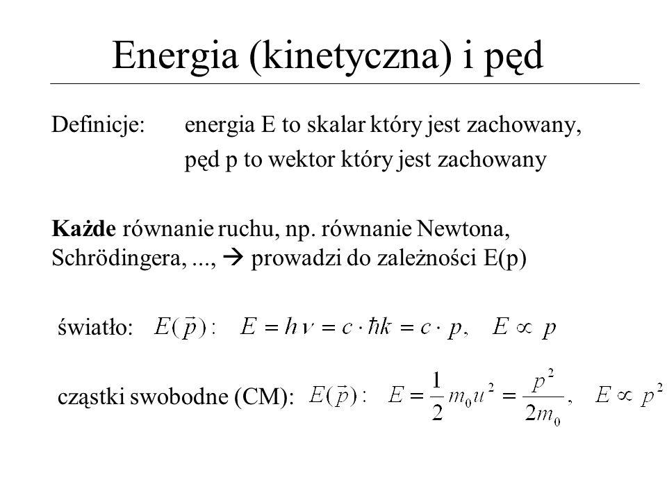Energia (kinetyczna) i pęd Definicje: energia E to skalar który jest zachowany, pęd p to wektor który jest zachowany Każde równanie ruchu, np. równani