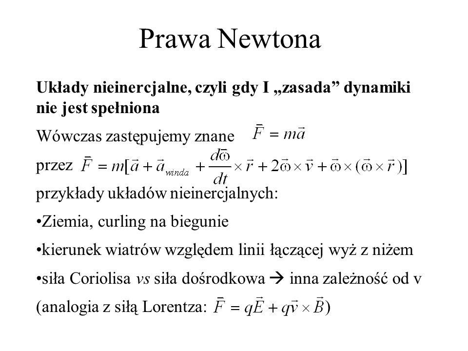 Prawa Newtona Układy nieinercjalne, czyli gdy I zasada dynamiki nie jest spełniona Wówczas zastępujemy znane przez przykłady układów nieinercjalnych: