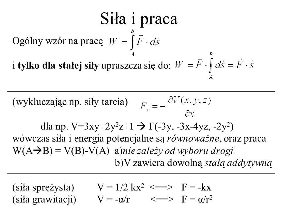 Typowe siły – siła sprężysta Uwaga: wektory wytłuszczono Nazwa i znaczenie: siła sprężysta, F ~ -x, F = -kx, (k=const) Energia potencjalna: V(r) = kx 2 /2 + const Rozwiązanie r(t): x(t) = Asin(ωt+φ), gdzie ω 2 = k/m Tor: Realizacja: sprężyna, dla małych wychyleń wahadło, dla małych wychyleń tunel w Ziemi, korek na wodzie, U-rurka Uwagi: dla małych wychyleń F(x) = a + bx + cx 2 +...